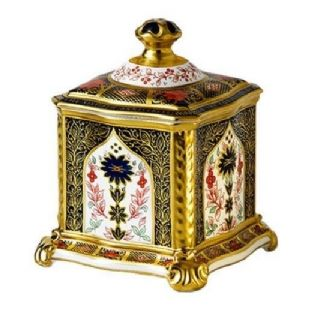 Royal Crown Derby Old Imari Solid Gold Band Tea Caddy